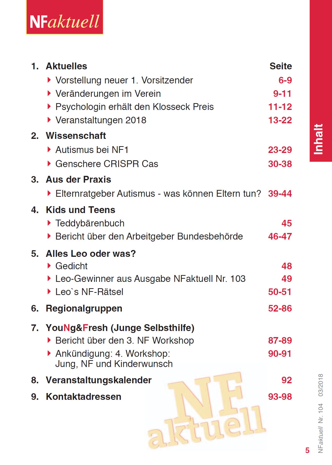 NFaktuell-104-März-2018 Bundesverband Neurofibromatose Mitgliederzeitschrift
