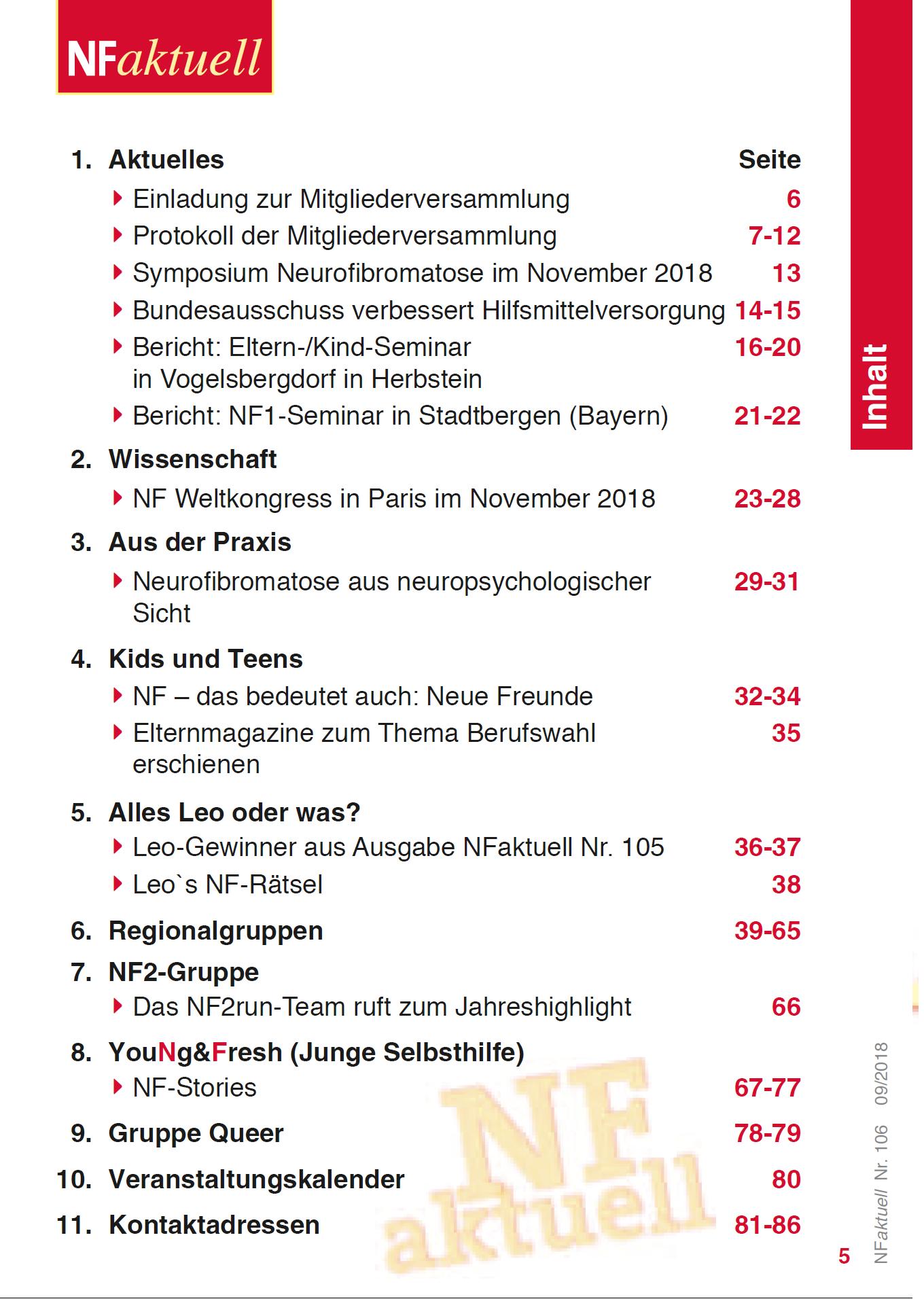 NFaktuell-106-September-2018 Bundesverband Neurofibromatose Mitgliederzeitschrift