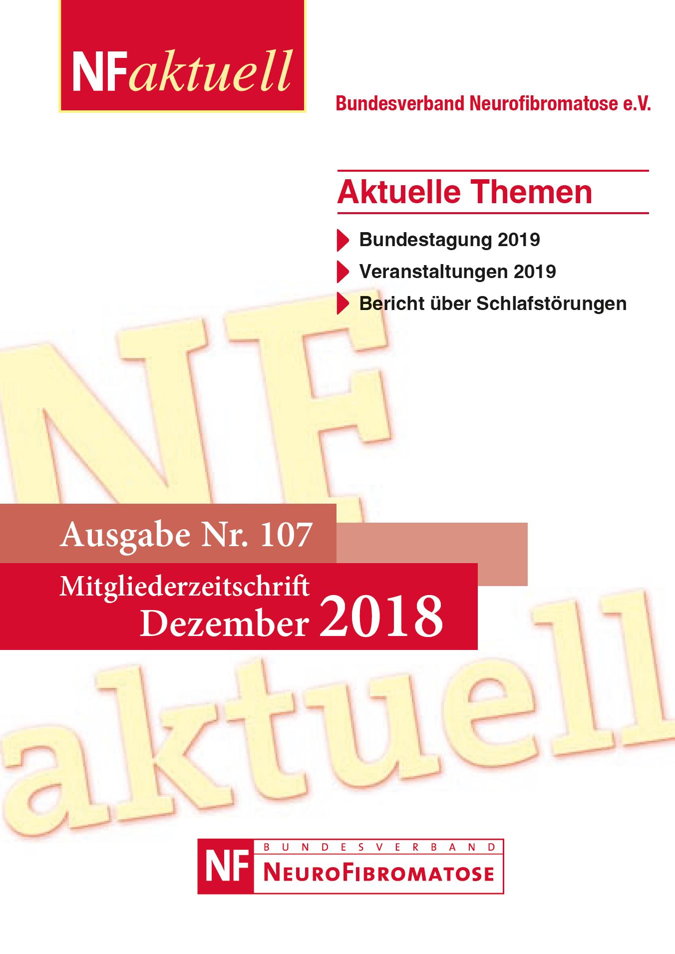 NFaktuell-N107-Dez-2018 Bundesverband Neurofibromatose Mitgliederzeitschrift